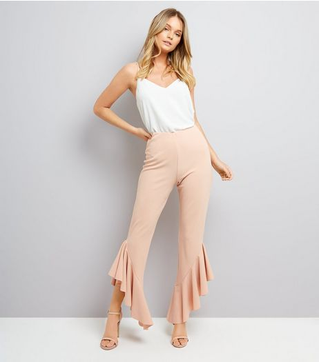 Cameo Rose Shell Pink Frill Hem Trousers | New Look