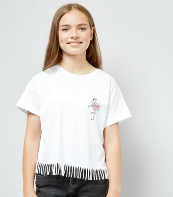 Teens White Flamingoals Cotton Tassle T-Shirt