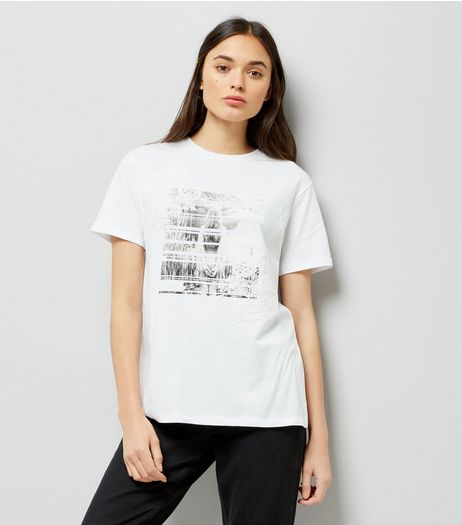 White Photographic Print Applique T-Shirt | New Look