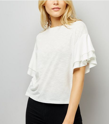 White Double Frill Sleeve T-Shirt | New Look