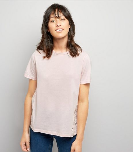 Pink Woven Cut Out Embroidered Back T-Shirt | New Look