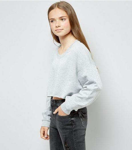 Teens Grey Cropped Sweater | New Look