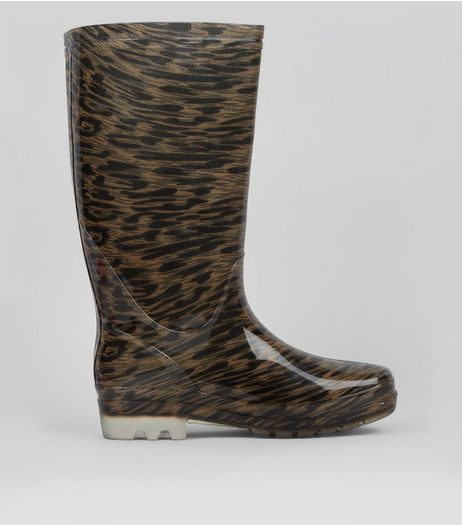 Stone Leopard Print Wellies | New Look