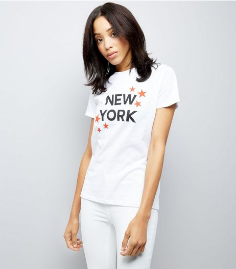 White New York Slogan Print T-Shirt  | New Look