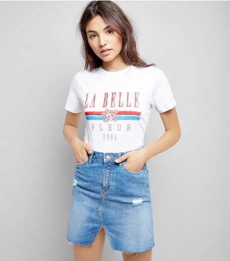 White La Bella Fleur Slogan T-Shirt | New Look