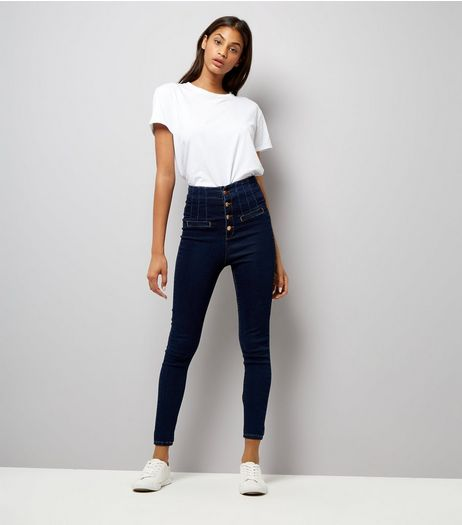 Navy High Waisted Button Front Skinny Jeans | New Look
