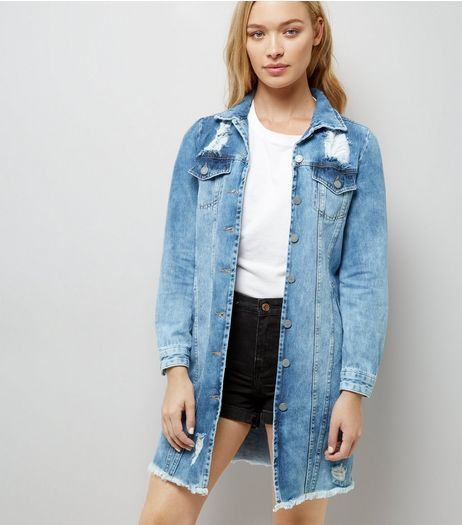 Blue Oversized Fray Hem Denim Jacket | New Look