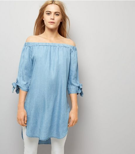 Blue Vanilla Blue Denim Tie Sleeve Bardot Neck Dress | New Look