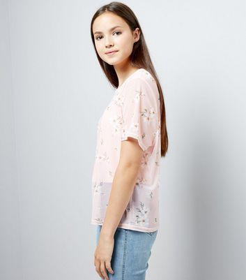 Teens Pink Floral Print Mesh T-Shirt