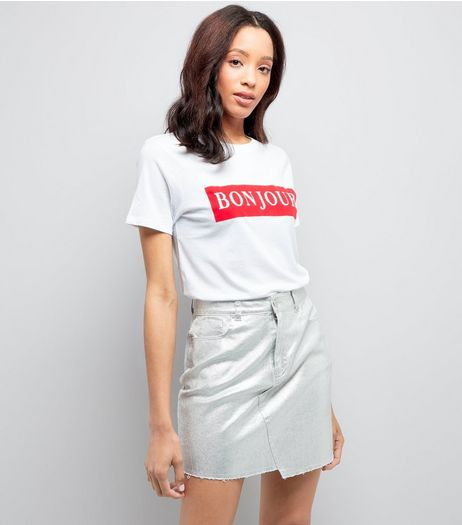 White Bonjour Cotton T-Shirt | New Look