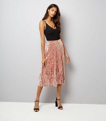 Pink Velvet Pleated Midi Skirt