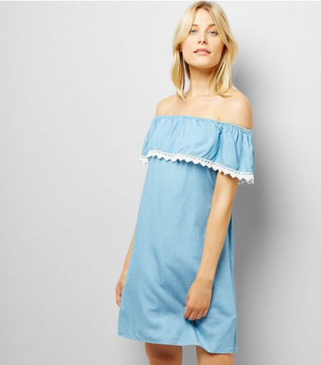 Cameo Rose Blue Crochet Trim Bardot Neck Dress | New Look