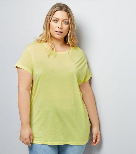 Curves Yellow Oversized T-Shirt | New Look