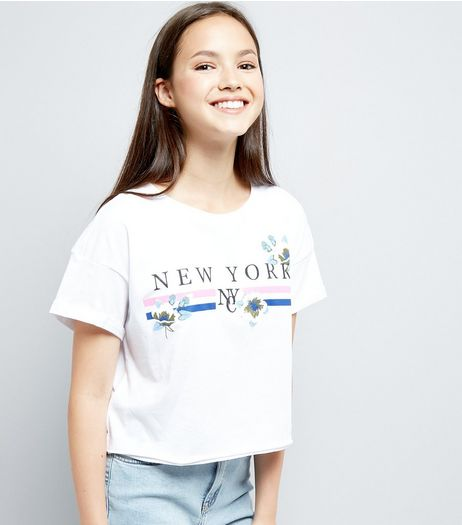 Teens White New York Slogan Puff Print T-Shirt  | New Look