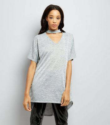 Grey Dip Hem Choker T-Shirt