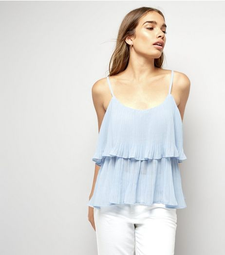 Cameo Rose Blue Frill Detail Cami Top | New Look