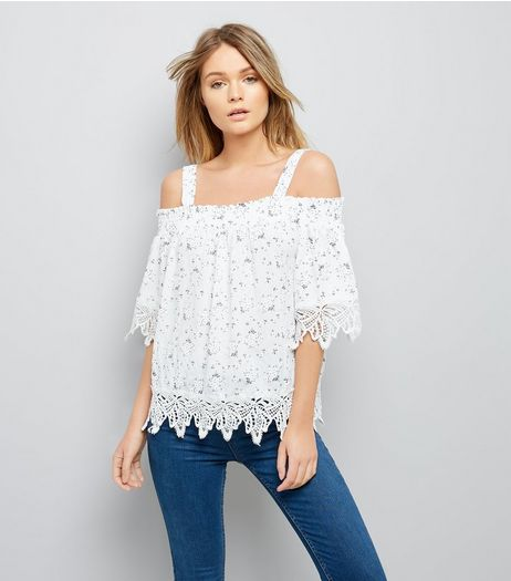 Cameo Rose Cream Floral Lace Trim Cold Shoulder Top | New Look