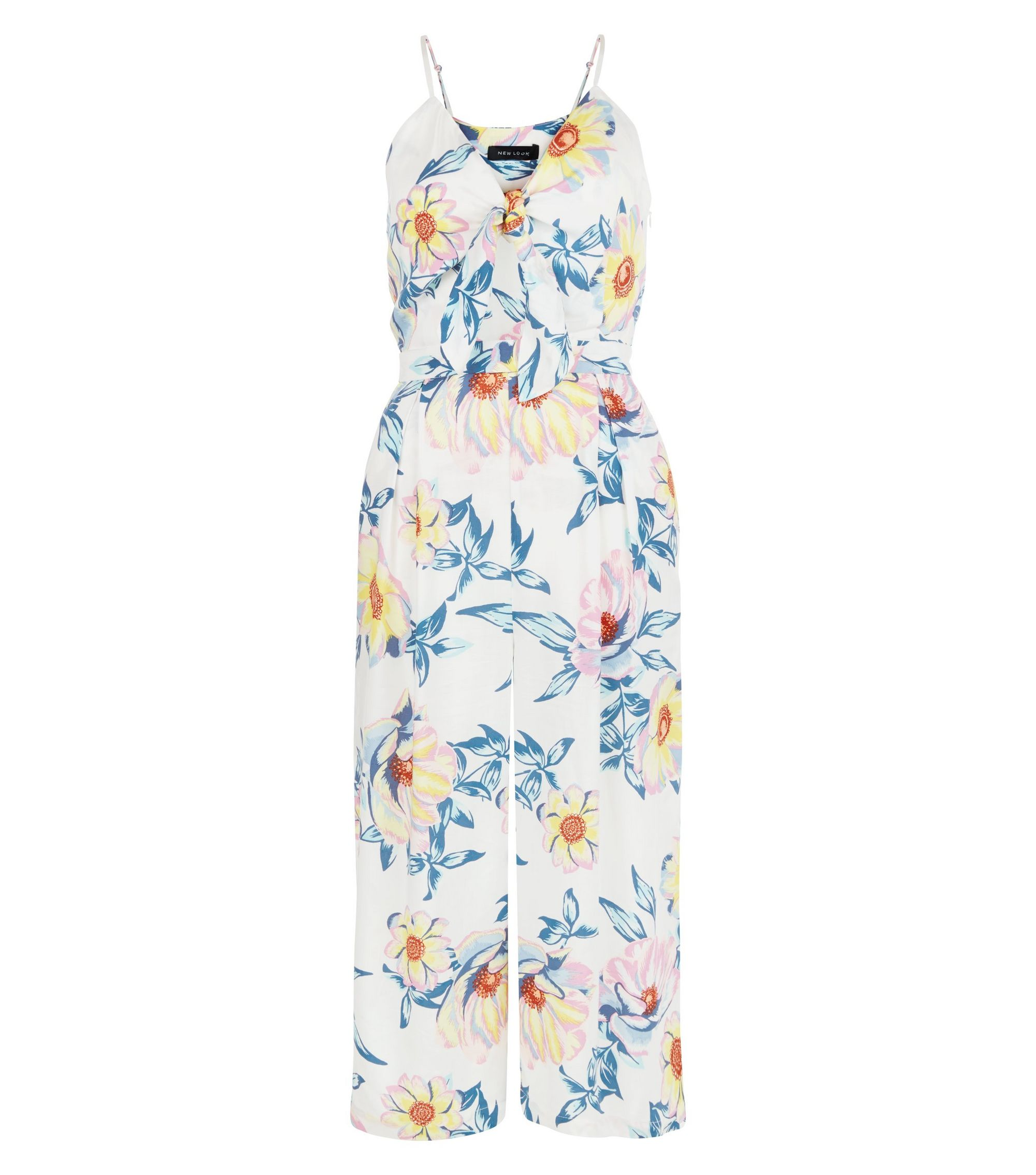 White Floral Print Tie Front Culotte Jumpsuit   New Look