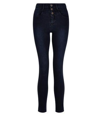 Teens Navy High Waisted Skinny Jeans