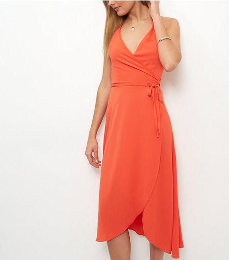 Red Wrap Crepe Halter Neck Midi Dress | New Look