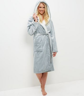 Pale Grey Borg Lined Hooded Dressing Gown