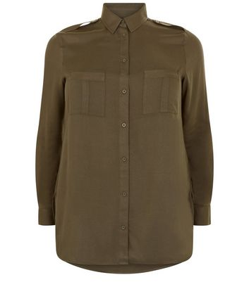 Curves Khaki Double Pocket Long Sleeve Shirt