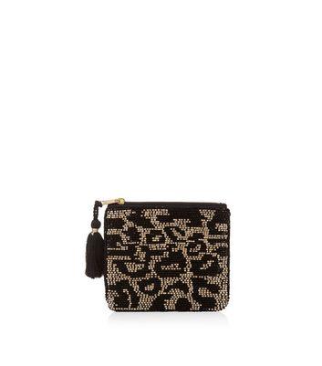 Black Leopard Print Embellished Zip Top Purse