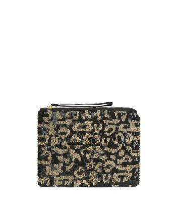 Black Leopard Print Embellished Clutch