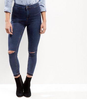Dark Blue High Waisted Ripped Knee Skinny Yazmin Jeans