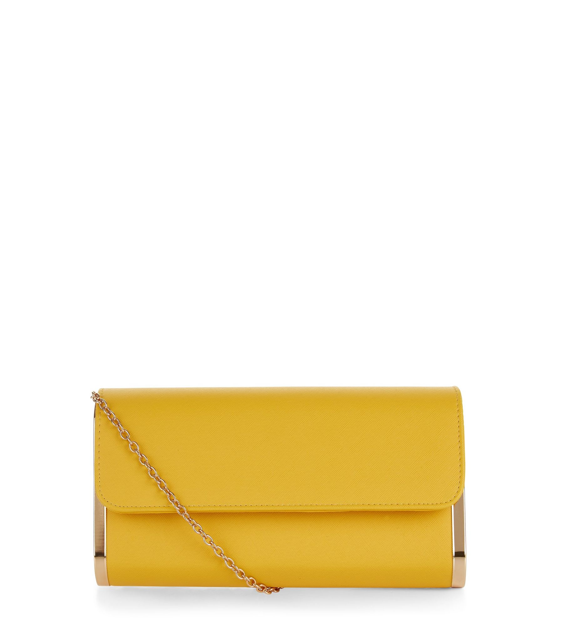 Yellow Metal Trim Clutch Bag  | New Look