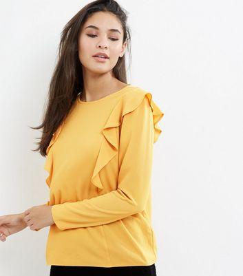 Yellow Frill Trim Long Sleeve Shirt
