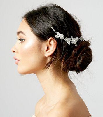 Silver Flower and Leaf Back Hair Slide