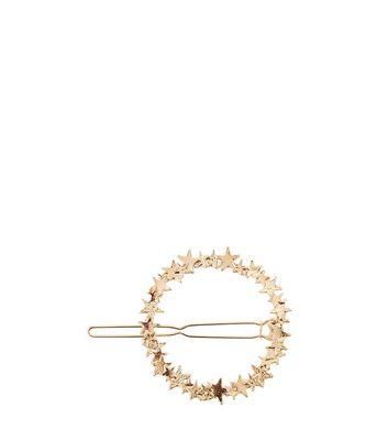 Gold Star Open Circle Hair Slide