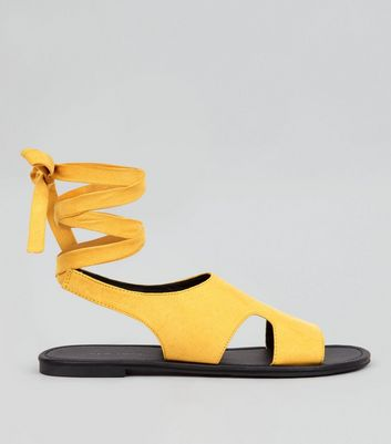 Yellow Suedette Ankle Tie Cut Out Sandals
